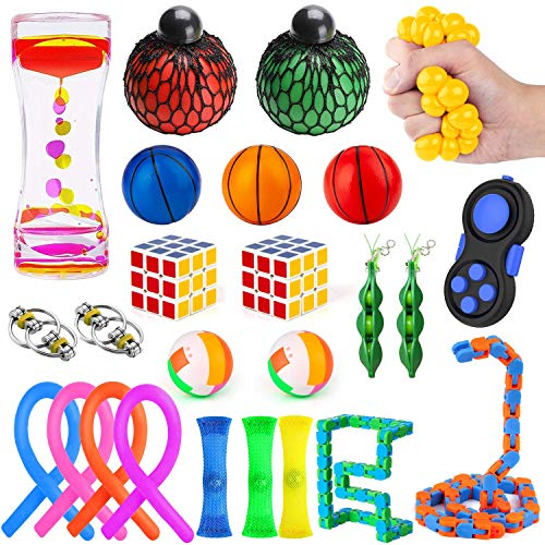 Fidget Toys Set, Mibote Sensory Toys Bundle for Kids/Adults Stress Relief and Anti-Anxiety Hand Toys , Liquid Motion Timer, Fidget Pad, Snake Cube, Puzzle Balls, Cube