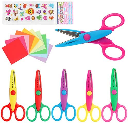 LandJoy Colorful Decorative Paper Edge Scissor Set 6 Kids Craft Scissors Safety Blade Comfortable product image