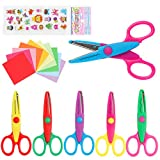 LandJoy Colorful Decorative Paper Edge Scissor Set, 7 Kids Craft Scissors, Safety Blade, Comfortable Handle, DIY Craft Scissors Suitable for Children, Teachers, Scrapbooks, Greeting Cards-B