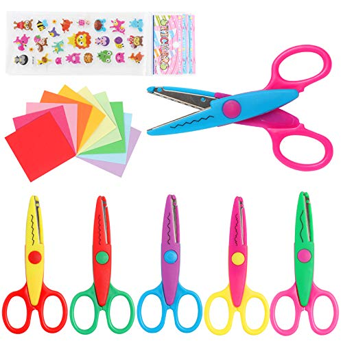 LandJoy Colorful Decorative Paper Edge Scissor Set, 7 Kids Craft Scissors, Safety Blade, Comfortable Handle, DIY Craft Scissors Suitable for Children, Teachers, Scrapbooks, Greeting Cards-B