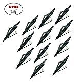 Pack de 12 têtes de flèche Arrow 3 lames Tir à l'arc Arrow Heads Tips 100 Grains pour arbalète et arc à poulies (Noir)
