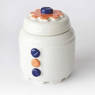 Azucarero de Cerámica Artesanal, Más colores disponibles, diseño mecánico con engranajes y tornillos - h 10,5 x Ø 8cm (Azu...