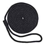 SGT KNOTS Solid Braid Polypropylene Dock Lines - All Purpose Marine Docking Ropes for Boat/Boats (1/2' x 15ft, 2 Pack - Black)