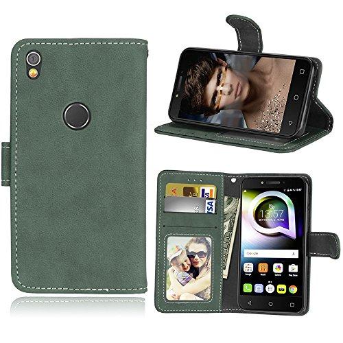 Alcatel Shine Lite Hülle, SATURCASE Retro Mattiert PU Lederhülle Magnetverschluss Flip Brieftasche Handy Tasche Schutzhülle Handyhülle Hülle mit Standfunktion für Alcatel Shine Lite 5080X (Grün)