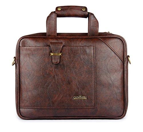 Maletín de cuero vegano de 15,6 pulgadas, bolso de mensajero de negocios, bolsa de ordenador portátil de oficina