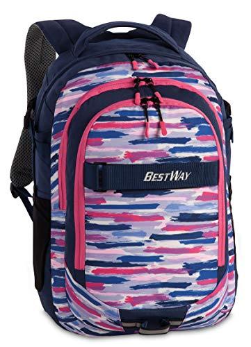 """Bestway Rucksack, \""""Evolution Air\"""",  Mit Laptop-Fach, Marineblau/Pink, 22l, 34x46x22cm, 40177-0622"""