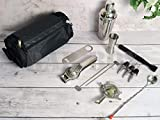 Bar Box Travel Bartender Kit Bag,Professional 11-Piece Bar Tool Set with Stylish Portable Bar Bag and Shoulder Strap for Easy Carry and Storage,Travel Bar Set,Cocktail Accessory Sets, Work, Parties