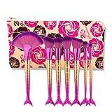 Brochas de Maquillaje 7 en 1 estilo sirena Mango de cepillo del maquillaje Fundación crema cosmética Powder Blush Maquillaje de herramientas con Set Bolsa portátil (Color : Color2)