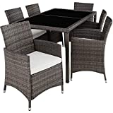 <span class='highlight'>TecTake</span> 403397 Poly <span class='highlight'>Rattan</span> <span class='highlight'>Garden</span> <span class='highlight'>Furniture</span>, <span class='highlight'>Set</span> Dining Room 6 1, Protection Slipcover, Stainless Steel Screws, Grey