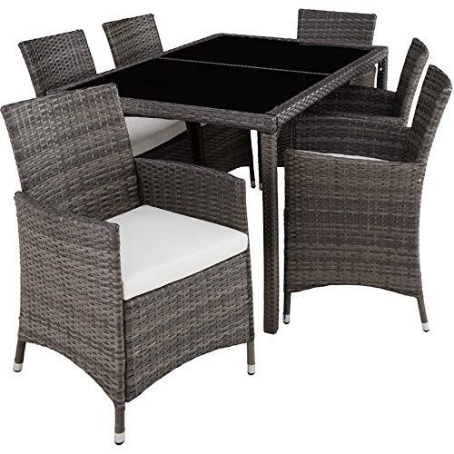 TecTake 800325 - Poly Rattan Sitzgruppe, 6 Stühle mit Sitzkissen, 1 Tisch mit 2 Glasplatten, inkl. Schutzhülle - Diverse Farben - (Grau   Nr. 403397)