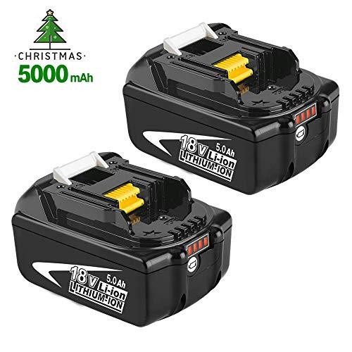 2X Reoben BL1850B 18V 5,0Ah / 5000mAh Lithium Batterie Remplacement pour Makita 18V BL1860B BL1850 BL1840 BL1830 BL1815 BL1835 BL1845 LXT-400 Outils électriques sans fil avec indicateur