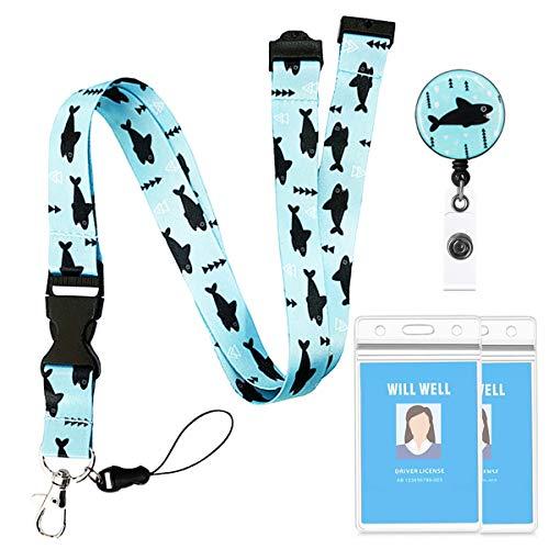 Beacil Porta Badge da Collo(Pesce),Cordino portachiavi rimovibile reversibile e carta d'identità retrattile con porta badge nome impermeabile Clip Carry, per chiavi USB ID Card Phone