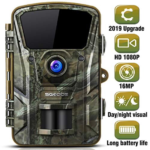 "SGODDE Wildkamera,16MP 1080P Full HD 5.0 Jagdkamera Infrarot-Nachtsicht bis zu 65 Fuß/20m,42 IR LEDs Bewegungsmelder 120 ° Weitwinkelobjektiv IP66 Wasserdicht 2.4\"" LCD 0,7 Sekunden Auslösezeit (A)"