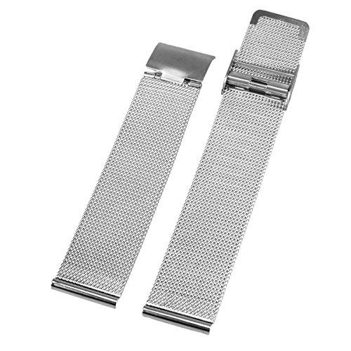Alienwork Cinturino orologio Acciaio inossidabile Cinturino in Maglia Acciaio Inossidabile argento