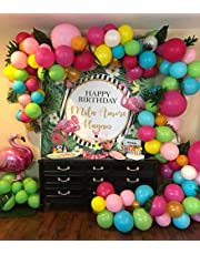 100pcs Balloon Garland & Arch Kit for Hawaii Party Flamingo Party-100pcs Latex Balloons, 16 Feets Arch Balloon Decorating Strip Tape for Moana Party Tropical Party Fruit Party