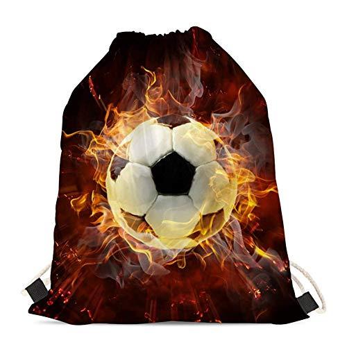 Woisttop Bolsa de cordón duradera para el hombro, bolsa de gimnasio, mochila de cuerda para niñas, niños, adolescentes, adultos, Mujer, Fuego de fútbol, Talla única