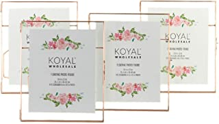 Koyal Wholesale Pressed Glass Floating Photo Frames 4-Pack with Stands for Horizontal or Vertical Pictures, Table Numbers, Place Cards, Diploma Frame, Certificate Frame (Rose Gold, 10 x 12)