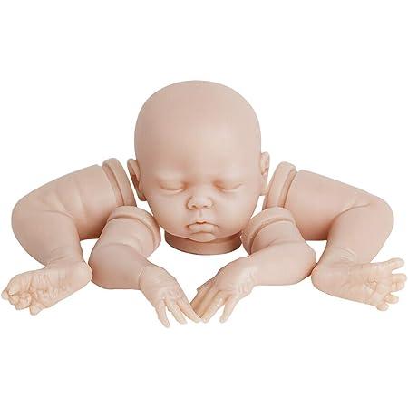 Simulation 20inch Unpainted Reborn Kits Baby Doll Vinyl Mold Head 3//4 Arms Full