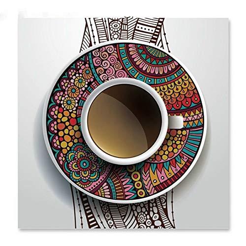 Poster Kaffeetasse Leinwand Malerei Wandkunst Leinwand druckt Wandbilder für Wohnzimmer Küche Dekor 50x50cm