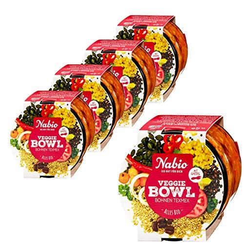 "Nabio Veggie Bowl to go ""Bohnen Tex Mex"" Bio Fertiggericht, Feinkostsalat vegan, 5er Pack (5 x 235g)"