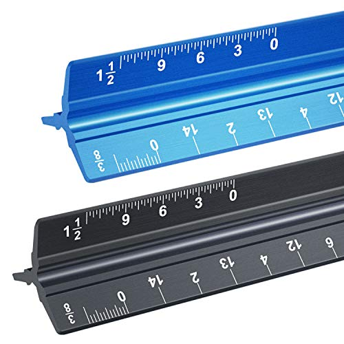 Architectural Scale Ruler, Two 12 Inch Triangular Aluminum Architect Scale (Imperial), Blueprints Ruler, Metal Ruler, Drafting Ruler, Architect Ruler, Metal Ruler, for Engineers, Students, Draftsman