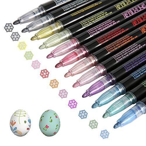 ZEINZE Outline Metallic Marker Pens, Highlight Marker Pen & Colored Permanent Marker Pens for Kids, Double Line Pen Journal Pens for Black Paper, Art Rock Painting, DIY Photo Album, Set of 12