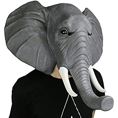 SUNKY アニマルマスク 天然ゴム ラテックス製 象 お面 被り物 仮面 動物マスク かぶりもの リアル 動物 変装マスク 学院祭 グッズ パーティー 仮装 ゾウ なりきりマスク Elephant