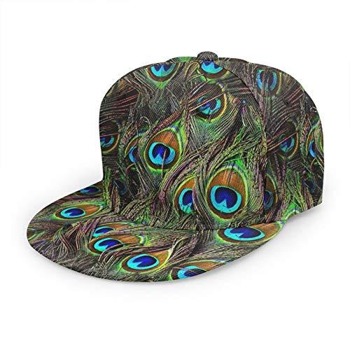 LAOLUCKY Gorra de béisbol ajustable de plumas de pavo real de la invasión del camionero del sombrero unisex del Snapback gorras