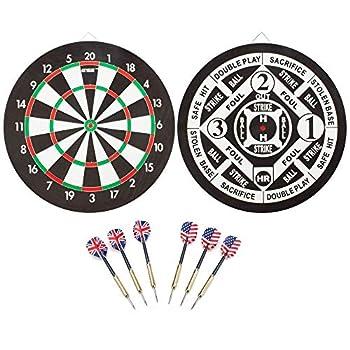 Regulation Size Steel Tip Dartboard Game Set Professional Dart Board Games Set  Paper 2-in-1 Dartboard Set