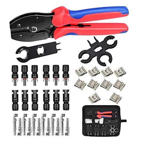 QeeHeng MC4 Crimping Tool Kit per connettore del cavo solare,6 coppie di connettori maschio/femmina per pannello solare, 1 pinza per cavi MC4 / MC3, Kit di cablaggio per pannello solare,37PCS