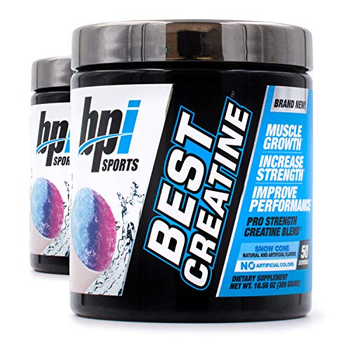 BPI Best Creatine to Increase Energy Strength and Muscle Mass 50 Servings 2Pack Snow Cone