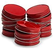 KooK Mason Jar Lids Regular Mouth, Leak Proof and Secure, 16 pack, Red