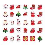 FRCOLOR 30 Piezas de Imanes de Nevera de Navidad Set Mini Santa Muñeco de Nieve Pegatinas de Nevera Encantos de Fiesta Plana Decoración de Pizarra de Navidad
