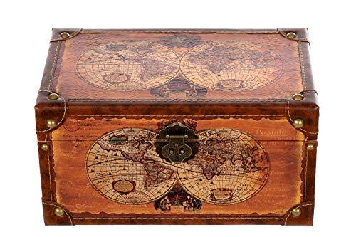 Birendy Truhe Kiste 1622 Weltkarte Holztruhe Schatzkiste mit Kunstleder bezogen (Größe L 35cm x 21cm x 19cm)