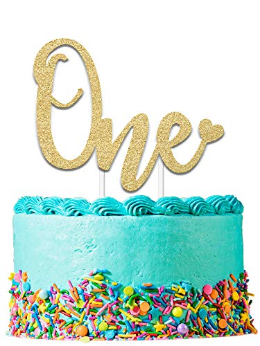 1st Birthday Cake Topper Decoration ONE - 6.25' x 4.25' First Bday Topper w/ Premium Double Sided Gold Glitter Card Stock Paper | Exclusive Happy Birthday Accessory For Boys & Girls