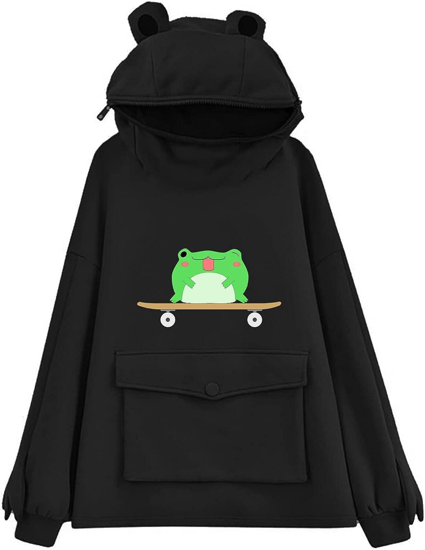 Toeava Women's Cute Frog Skateboard Print Sweatshirt Long Sleeve Thermal Pullover Hooded Sweatshirts Tops with Pockets