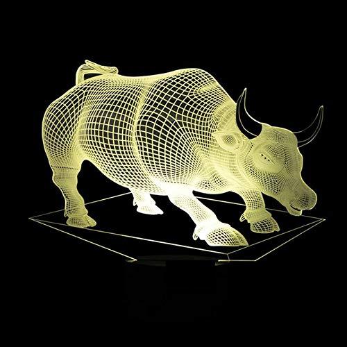 New Bull 3D USB LED Bunte Fernbedienung Schreibtischlampe Acryl Vision Schreibtisch Tischstempel für Wohnzimmer Lamparas De Mesa 3D USB Nachtlicht