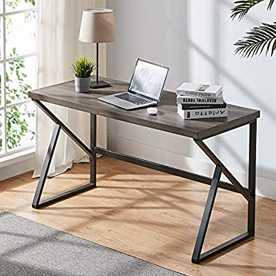 HSH Rustic Computer Desk, Metal and Wood Home Office Desk, Industrial Vintage Soho Study Writing Table, Gray 47, 55 and 60 inch by HSH