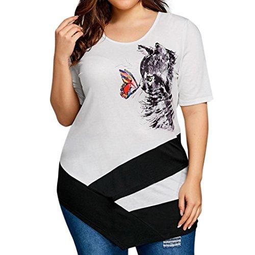 MRULIC Damen Tunika Frauen Sommer Kurzarm Große Größe Spitze Hemd Lange Hülsen Beiläufige Lange Shirt Oberseiten-Bluse Geschenk zum Muttertag (44, A1-Weiß)