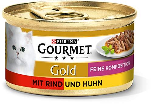Gourmet Gold chat Doublure Alliance Raffinée - Lot de 12 (12 x 85g) - Poulet-boeuf
