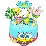 15PCS Sponge bob Adornos para Tartas,Caricatura Cake Topper, Fiesta de Cumpleaños DIY Decoración Suministros,Baby Baptism Birthday Party Cake Decoraciones