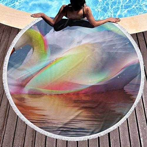 Olie Cam Toalla de Playa Redonda Cisne Agua Colorida Hippie Toalla Juvenil Feliz Alfombra de Manta Extra a Prueba de Arena