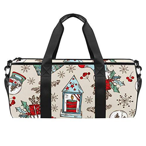 Reisetasche aus Segeltuch mit Weihnachtsstiefeln, Glocke, Stern, Kerze und Geschenk