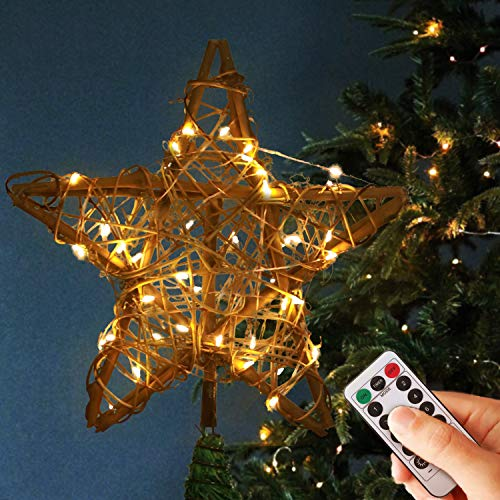 """KELIVOL 10"""" Christmas Tree Topper Star Rattan Natural Christmas Tree Decoration with 50 LEDs Remote Warm Light Tree top Decorations for Holiday Ornament or Home Decor"""