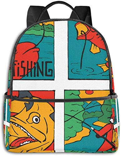 Caricature colorée Dessin animé Poisson et pêcheur avec Impression sur Le thème de la pourriture de la Nature, Sac à Dos de Voyage de randonnée décontracté 12 '5' 14,5 'LWH