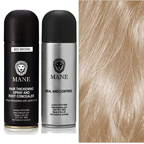 Mane Hair Thickening Spray 200 ml with Seal & Control 200 ml Fixing Spray -12 colours (Medium Brown)