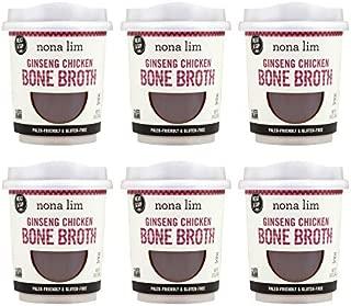Nona Lim Bone Broth Heat & Sip Cups, Ginseng Chicken - Gluten Free, Dairy Free, Non GMO, Paleo Friendly (10 oz, 6 Count)