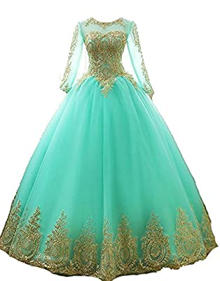 inmagicdress Women Ball Gowns Gold Lace Appplique Quinceanera Dresses Long Sleeves Prom Dresses IMG217
