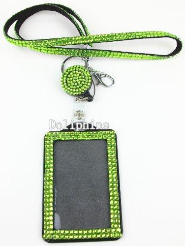 Multi-Colors Rhinestone set LANYARD, Retractable Reel and Vertical Badge Holder (Lime Green)