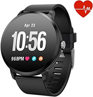 Fitness Tracker Smart Watch, Activity Tracker with Heart Rate Monitor, IP67 Waterproof Smart Fitness Band with Blood Pressure, Step, Calorie Counter, Pedometer Watch for Women and Men (V11-black)